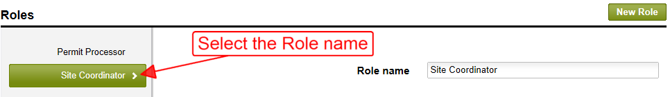 Selecting a role name from the list of available roles