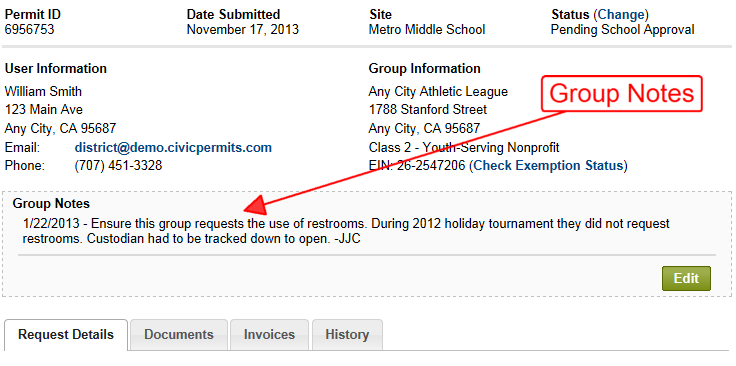 Group Notes displayed on a Permit Details Page