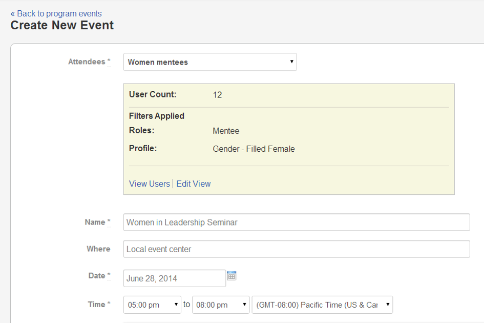 User view invited events